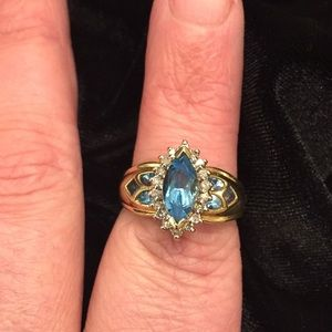 Cathedral Window Blue Topaz Ring